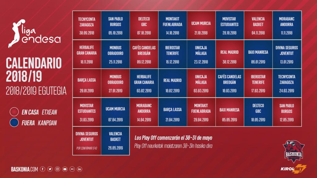Acb Calendario 2020.Calendario 2018 2019 De La Liga Endesa Saski Baskonia