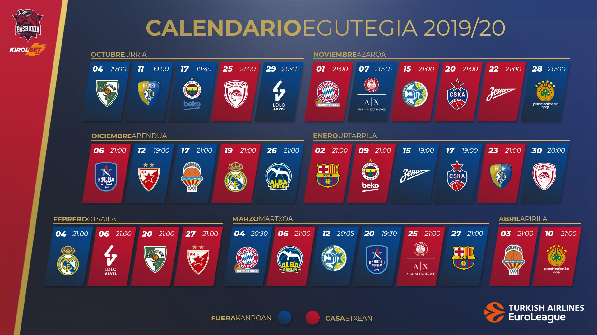 Calendario Laboral Barcelona 2020.La Turkish Airlines Euroleague 2019 2020 Ya Tiene Calendario Saski