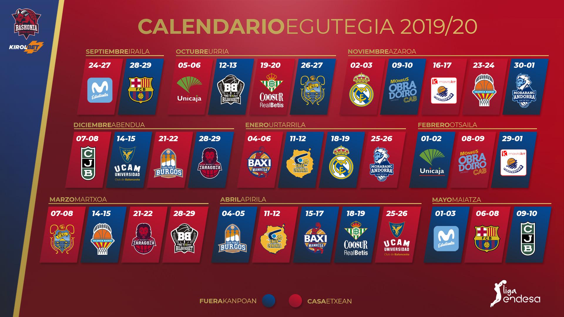 Acb Calendario 2020.Kirolbet Baskonia Ya Conoce El Calendario De La Liga Endesa